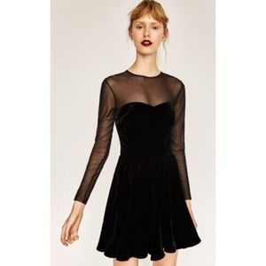 Zara Velvet Luxurious Sweetheart Strapless Dress